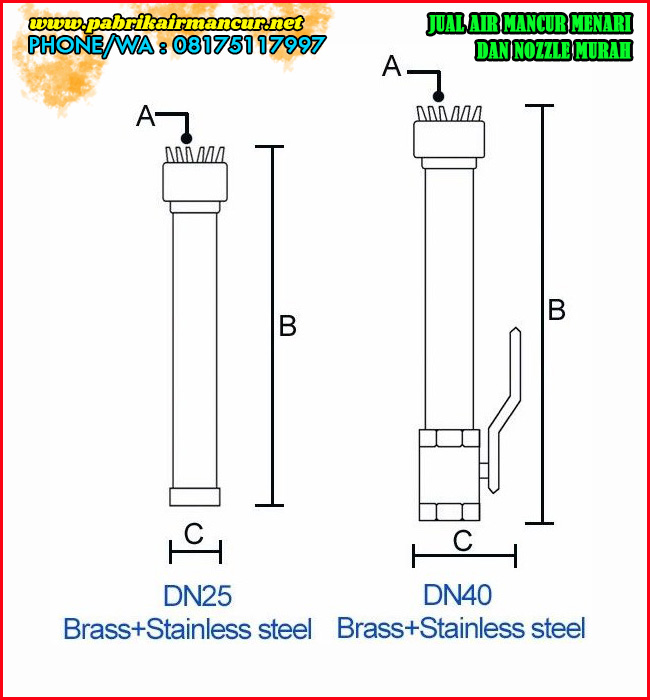 Ukuran Nozzle Silver Tassel berkualitas