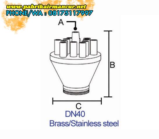 Ukuran nozzle concentrating nozzle